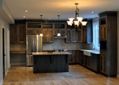 A rustic shaker style kitchen that